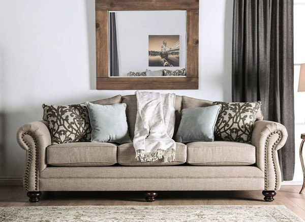 Furniture of America Jarauld Dark Taupe Sofa FOA-SM8006-SF