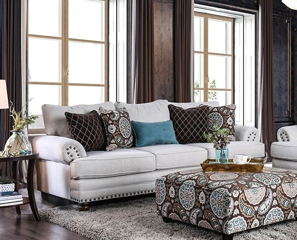 Furniture of America Amani Beige Sofa FOA-SM8120-SF