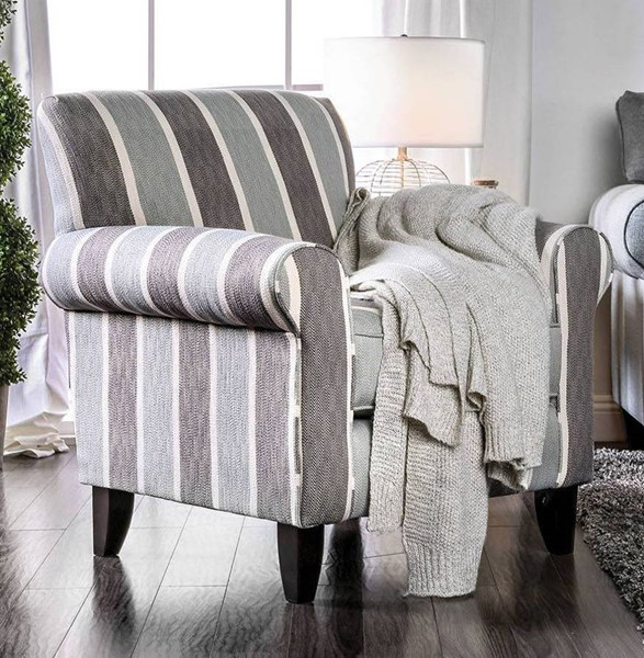Furniture of America Misty Blue Gray Stripe Chair FOA-SM8141-CH-ST