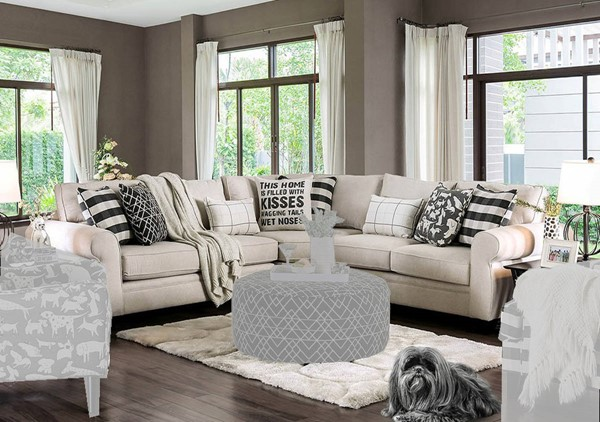 Furniture of America Patricia Ivory Sectional FOA-SM8171-SECT