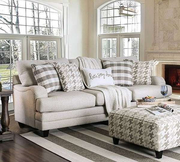 Furniture of America Christine Light Gray Sofa FOA-SM8280-SF