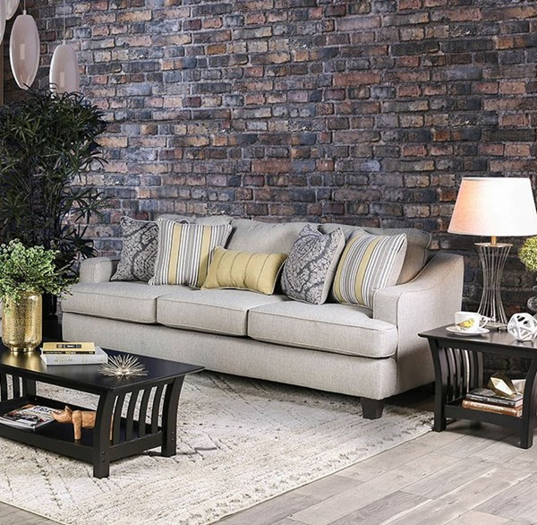 Furniture of America Wilkie Light Gray Sofa FOA-SM8311-SF