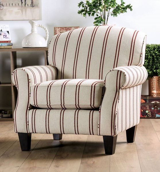 Furniture of America Fillmore Ivory Brown Stripes Chair FOA-SM8350-CH-ST