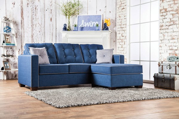 Furniture of America Ravel II Blue Sectional FOA-SM8852-SECTIONAL
