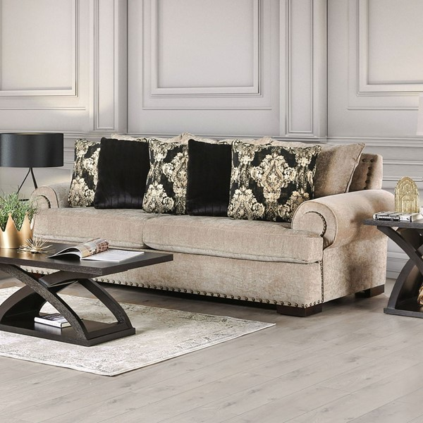 Furniture Of America Yates Beige Sofa FOA-SM9105-SF