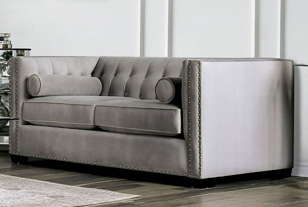 Furniture Of America Elliot Light Gray Love Seat FOA-SM9115-LV