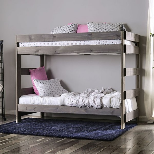 Furniture Of America Ampelios Gray Twin Over Twin Bunk Bed With Two Slat Kits FOA-AM-BK100GY-BED-SLAT