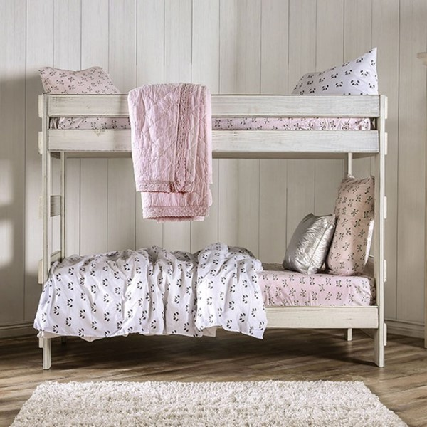 Furniture Of America Arlette White Two Slat Kits Twin Over Twin Bunk Bed FOA-AM-BK100WH-BED-SLAT