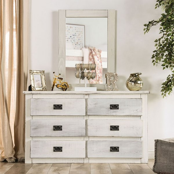 Furniture Of America Rockwall Wire Brush White Dresser and Mirror FOA-AM7000-WH-DRMR