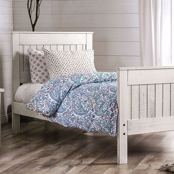 Furniture Of America Rockwall Weathered White Gray Twin Bed FOA-AM7973WH-T-BED