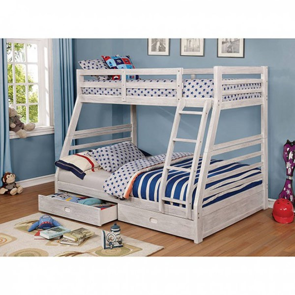 Furniture of America California III White 2 Drawers Twin over Full Bunk Bed FOA-CM-BK588BWH-BED