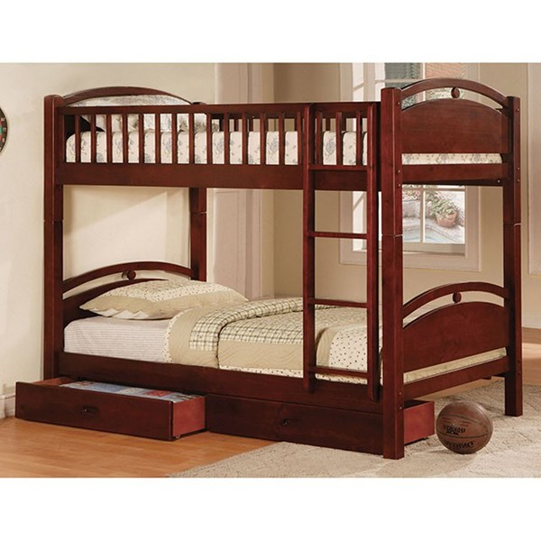 Furniture of America California I Cherry Twin Over Twin Bunk Bed FOA-CM-BK600CH-BED