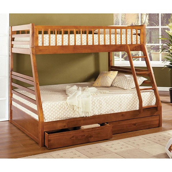 Furniture Of America California Ii Oak Twin Over Full Bunk