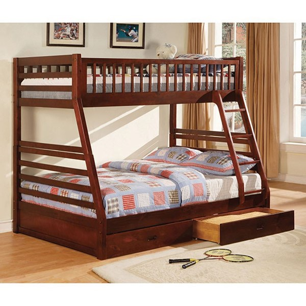 Furniture of America California II Cherry Twin Over Full Bunk Bed FOA-CM-BK601CH-BED