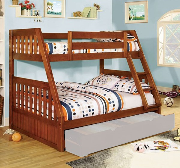 Furniture of America Canberra Oak Twin over Full Bunk Bed FOA-CM-BK605A-BED
