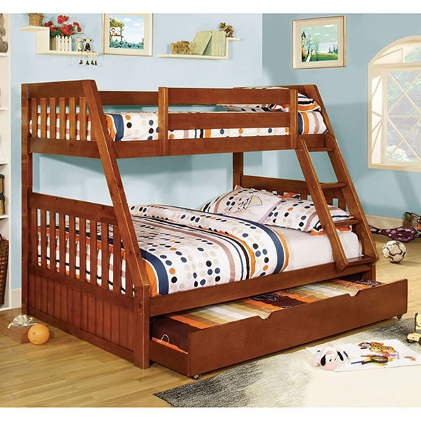 Furniture of America Canberra Twin over Full Trundle Bunk Beds FOA-CM-BK605-TRBED-VAR
