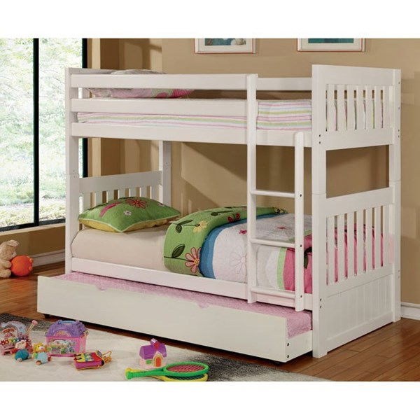 Furniture of America Canberra II White Trundle Bunk Beds FOA-CM-BK607-WH-TRBED-VAR