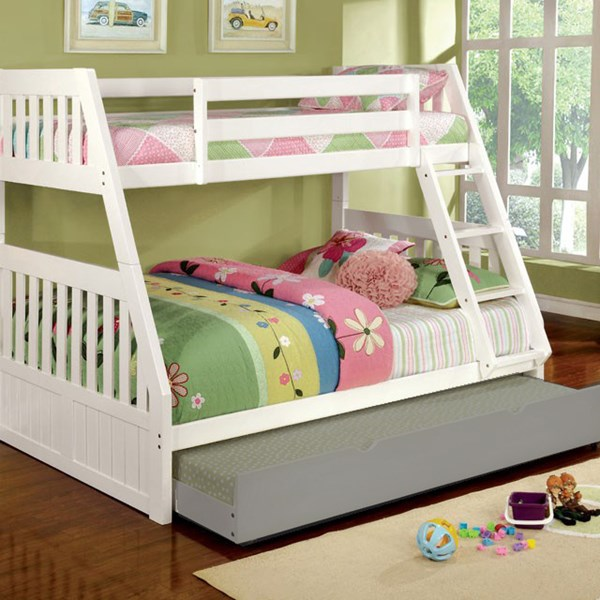 Furniture of America Canberra II White Twin over Full Bunk Bed FOA-CM-BK607WH-BED