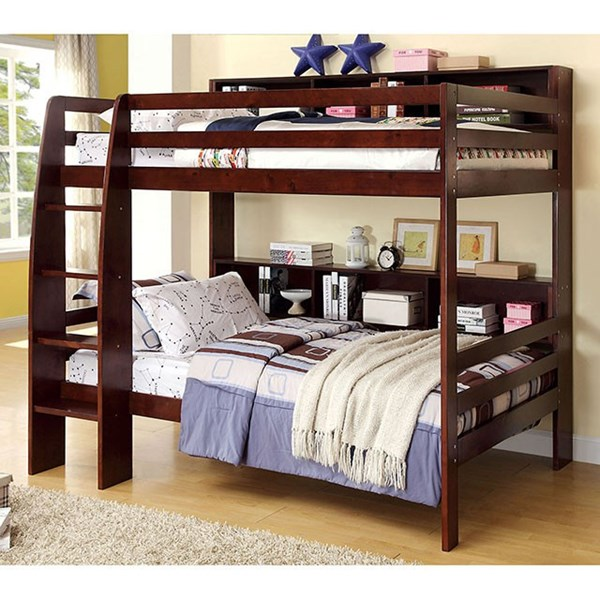Furniture of America Camino Dark Walnut Twin Over Twin Bunk Bed FOA-CM-BK613EX-BED