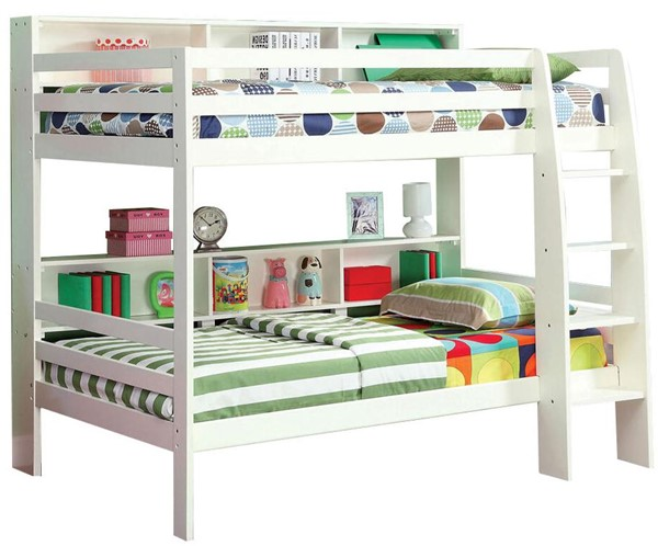 Furniture of America Camino White Twin Over Twin Bunk Bed FOA-CM-BK613WH-BED
