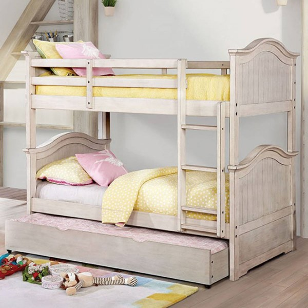 Furniture of America Hermine Antique White Twin over Twin Trundle Bunk Bed FOA-CM-BK635WH-TR-BED