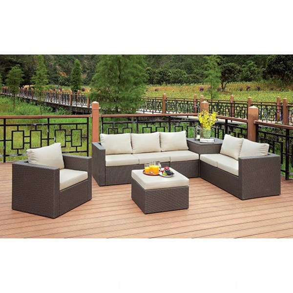 Furniture of America Davina Patio Sectional with Ottoman FOA-CM-OS1818-SET