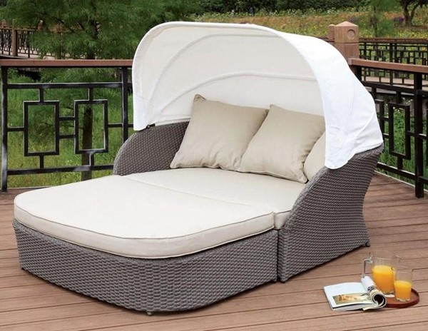 Furniture of America Aida Gray White Patio Canopy Daybed FOA-CM-OS2107