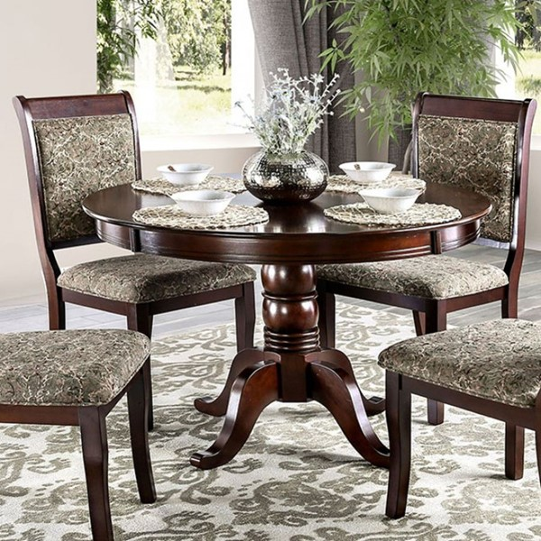 Furniture of America St Nicholas II Antique Cherry Round Dining Table FOA-CM3224RT-TABLE