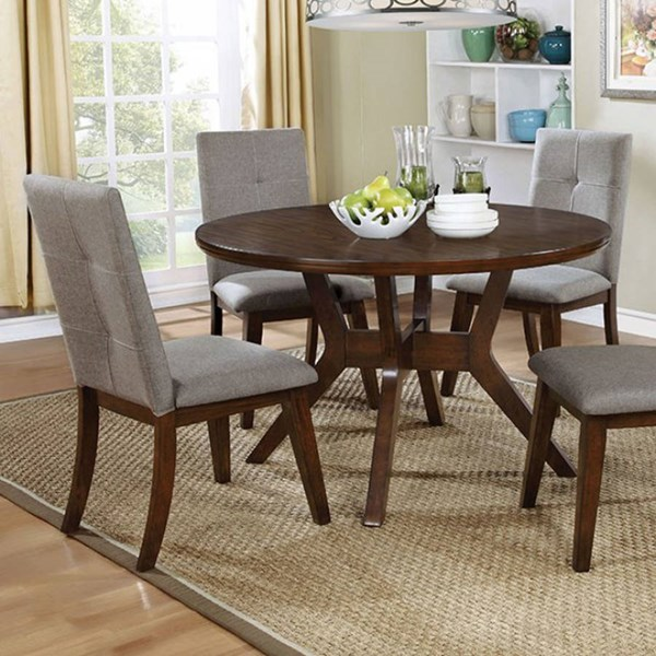Furniture of America Abelone Walnut Round Dining Table FOA-CM3354RT
