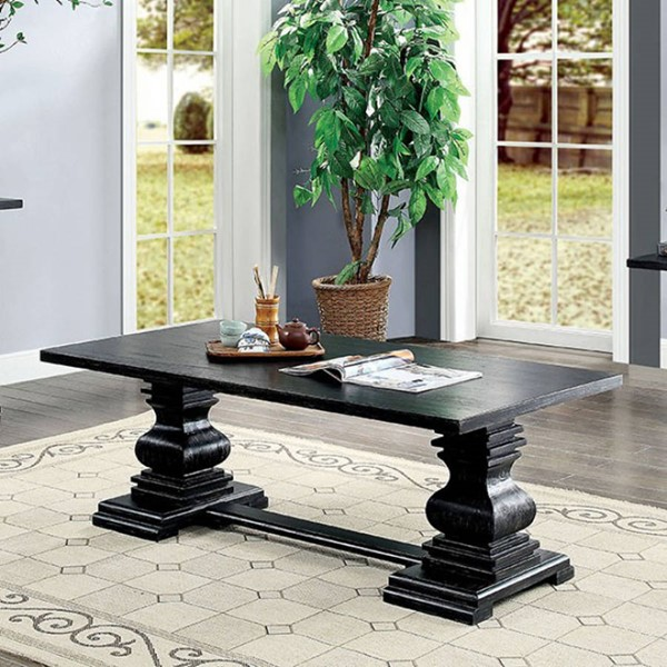 Furniture of America Mirabel Antique Black Coffee Table FOA-CM4341C-PK