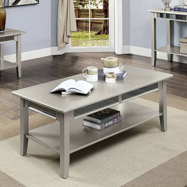 Furniture of America Celestine Silver Coffee Table with 5mm Beveled Antique Mirror FOA-CM4347C