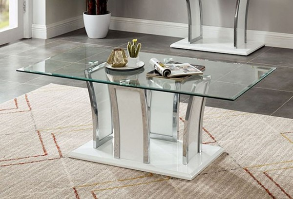 Furniture of America Staten Glossy White Coffee Table FOA-CM4372WH-C-PK