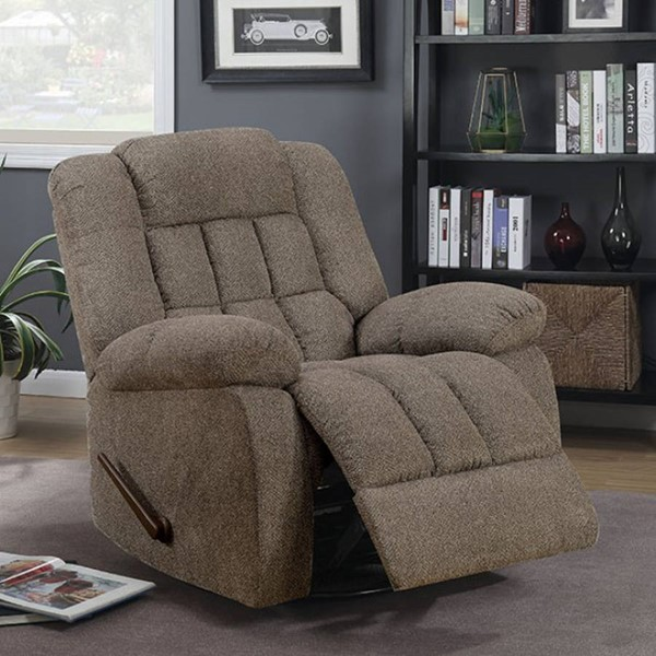 Furniture of America Piper Warm Gray 360 Degree Swivel Glider Recliner FOA-CM-RC6580