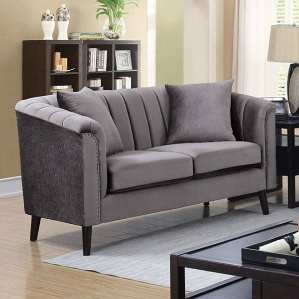 Furniture of America Dawn Gray Loveseat with Pillows FOA-CM6955-LV