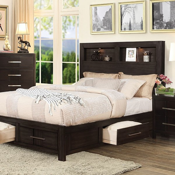 Furniture of America Karla Espresso King Bed FOA-CM7500EX-EK-BED