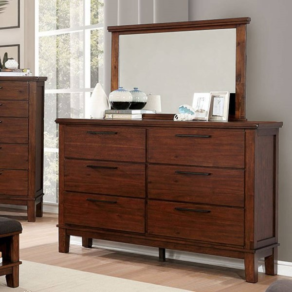 Furniture of America Knighton Brown Cherry Dresser and Mirror FOA-CM7528-DRMR