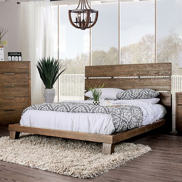 Furniture of America Tolna Walnut King Bed FOA-CM7532EK-BED