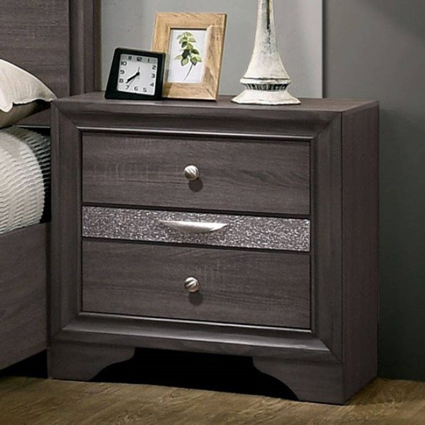 Furniture Of America Chrissy Gray Night Stand FOA-CM7552GY-N