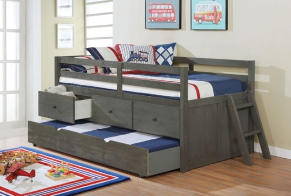 Furniture Of America Anisa Wire Brushed Gray Twin Loft Bed FOA-BK651GY-BED