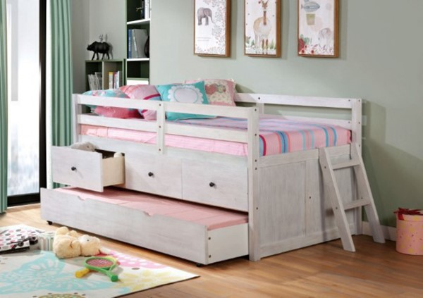 Furniture Of America Anisa Wire Brushed White Twin Loft Bed FOA-BK651WH-BED