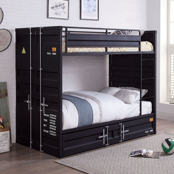 Furniture Of America Estonne Black Twin Over Twin Bunk Bed FOA-BK654BK-BED