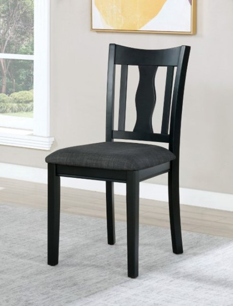 2 Furniture Of America Carbey Black Gray Side Chairs FOA-3488SC-2PK