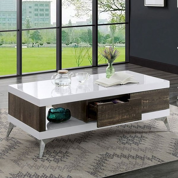 Furniture Of America Corinne White Distressed Dark Oak Coffee Table FOA-4535C