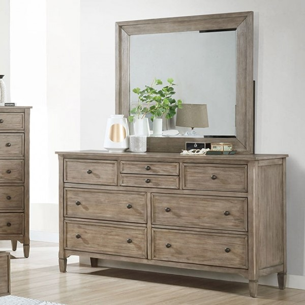 Furniture Of America Anneke Wire Brushed Warm Gray Dresser and Mirror FOA-7173-DRMR
