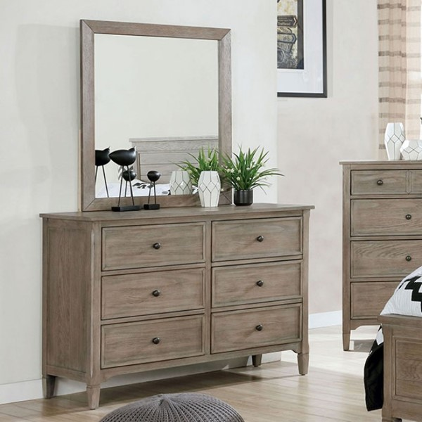 Furniture Of America Vevey Wire Brushed Warm Gray Dresser and Mirror FOA-7175-DRMR