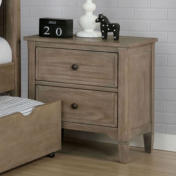 Furniture Of America Vevey Wire Brushed Warm Gray Night Stand FOA-7175N