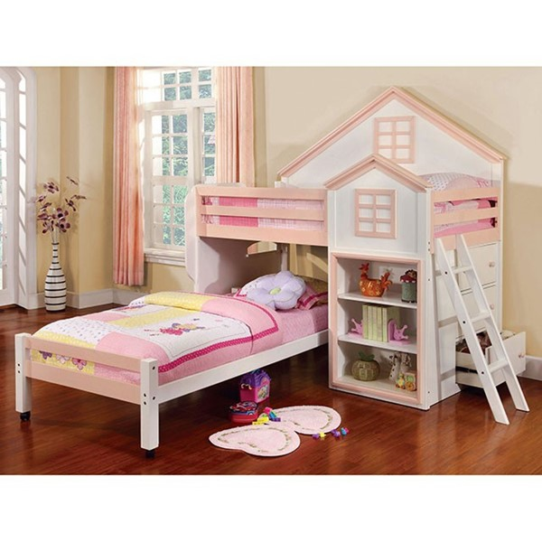 Furniture of America Citadel White Pink Twin Over Twin Loft Bed FOA-CM-BK131-PW-BED
