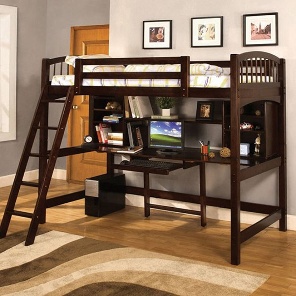 Furniture of America Dakota Ridge Workstation Twin Loft Bed FOA-CM-BK263-BED