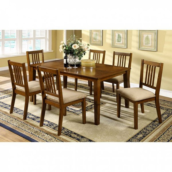 Mackay Transitional Dark Oak Solid Wood Fabric 7pc Dining Room Set FOA-CM3128T-7PK
