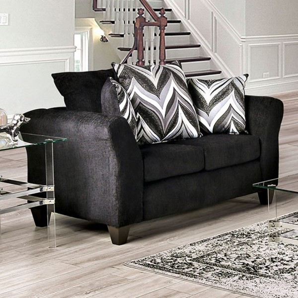 Furniture Of America Watlington Black Loveseat FOA-SM4040-LV
